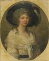 Angelica Kauffmann Portrait of Baroness Von Bauer, half length, Wearing a White, Lace Dress.jpg