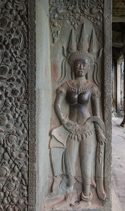 Bas-relief of a Apsara in Angkor Wat, Cambodia
