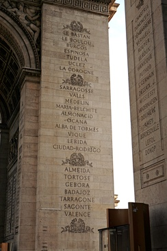French victories of the Peninsular War inscribed on the Arc de Triomphe