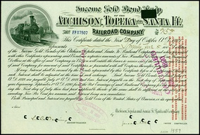 Gold bond of the Atchison, Topeka and Santa Fe Railroad Company, issued 1. October 1889