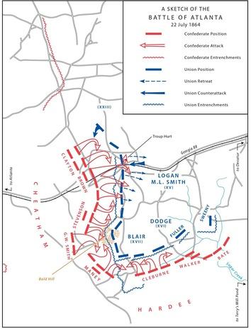A sketch of the Battle of Atlanta, July 22, 1864.