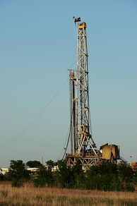 Natural gas drilling rig in Texas, USA