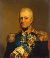 Portrait of Bennigsen in highly decorated uniform with white-gloved hands resting on the hilt of his sword in front of him