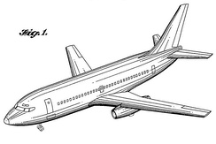 October 18, 1966 Jet aircraft patent, filed June 22, 1965 by John Steiner and Joe Sutter for Boeing
