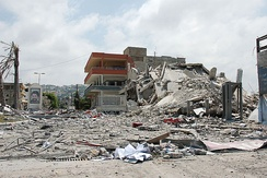 A building in Ghazieh, near Sidon, bombed by the Israeli Air Force (IAF)