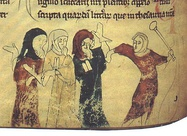 Jews being beaten, from an English manuscript.
