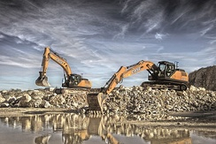 CASE CX300D and CX370D crawler excavators.