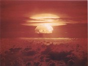 Image of the Castle Bravo nuclear test, detonated on March 1, 1954, at Bikini Atoll