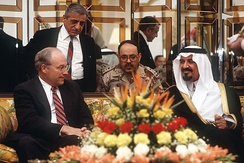 Dick Cheney meets with Prince Sultan, Minister of Defence and Aviation in Saudi Arabia to discuss how to handle the invasion of Kuwait.