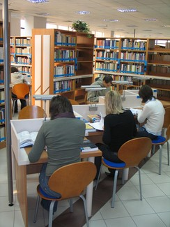 University students, like these students doing research at a university library, are often assigned essays as a way to get them to analyze what they have read.