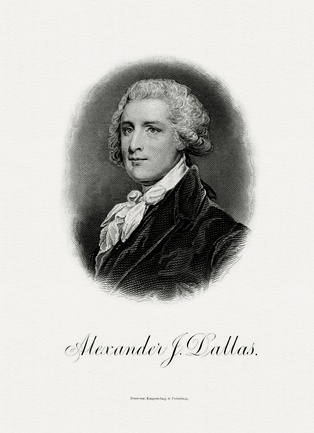 Bureau of Engraving and Printing portrait of Dallas as Secretary of the Treasury.