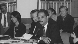 Holder opening an Interagency Working Group meeting of the White House Initiative on Asian Americans hosted by the Department of Justice on October 18, 2000.