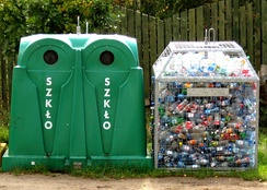 Early sorting of recyclable materials: glass and plastic bottles in Poland.
