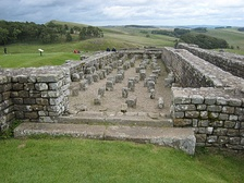 The pillars supported a raised floor to keep food dry and free from vermin in the northern granary at Housesteads Roman Fort (Vercovicium) on Hadrian's Wall.