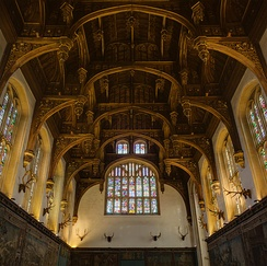The ceiling of the Great Hall of Hampton Court Palace.