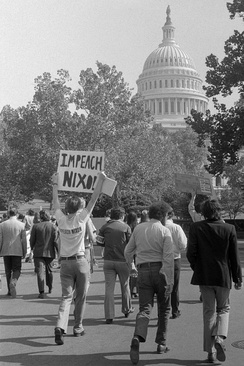 A demonstrator demanding Nixon's impeachment, October 1973