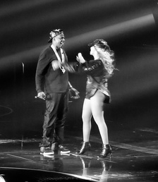 "Jay-Z embraces wife Beyoncé after his performance of ""Tom Ford"" on The Mrs. Carter Show World Tour, 2013"