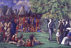 Joseph Smith preaching to the Sac and Fox Indians who visited Nauvoo on August 12, 1841