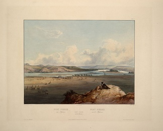 Fort Pierre and the adjacent prairie circa 1833. Fort Pierre on the Missouri: aquatint by Karl Bodmer from the book Maximilian, Prince of Wied's Travels in the Interior of North America, during the years 1832–1834