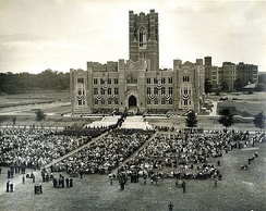 First commencement ceremony before recently completed Keating Hall, June 10, 1936[48]