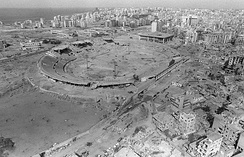 An aerial view of the stadium used as an ammunition supply site for the PLO, after Israeli airstrikes in 1982.