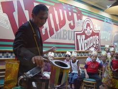 A Wendy's restaurant in Jakarta, Indonesia during a children's birthday party