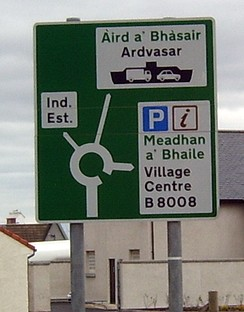 Public signage in Gaelic is becoming increasingly common throughout the Scottish Highlands. This sign is located in the bilingual port community of Mallaig.