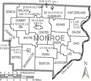 Map of Monroe County, Ohio with municipal and township labels