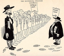 """The Mysterious Stranger"" – A political cartoon showing Missouri having left the Democratic Solid South by voting Republican."