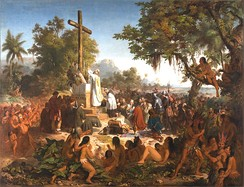 """First Mass in Brazil"". painting by Victor Meirelles."