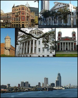 From top: Pincus Building, Old City Hall and Southern Market, Fort Condé, Barton Academy, Cathedral Basilica of the Immaculate Conception, and the skyline of downtown from the Mobile River.
