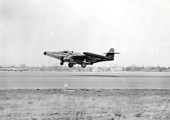 A Northrop F-89C landing at Eglin Air Force Base during the 1950s.