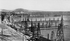 An oil field with dozens of wells.  This is the Summerland Oil Field, near Santa Barbara, California, before 1906