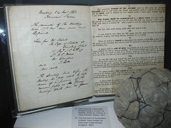 Photo of an early handwritten draft of the 'Laws of the game' for association Football drafted for and behalf of The Football Association by Ebenezer Cobb Morley in 1863 on display at the National Football Museum, Manchester.