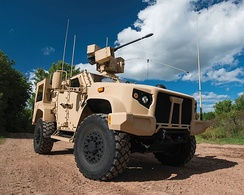 2016 Oshkosh L-ATV (configured as a Joint Light Tactical Vehicle (JLTV) equipped with EOS R-400S-MK2 remote weapon system integrated with Orbital ATK's M230-LF 30 mm lightweight automatic chain gun.