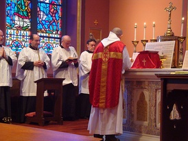 Tridentine Mass in a chapel of the Cathedral of the Holy Cross, Boston, Palm Sunday 2009