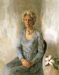 Pat Nixon's official White House portrait, painted in 1978 by Henriette Wyeth Hurd