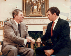 Pence meeting President Ronald Reagan at the White House in 1988