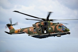 SAR operation performed by an EH101 helicopter of the Portuguese Air Force.