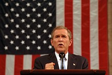 At a joint session of Congress, President Bush pledges to defend America's freedom against the fear of terrorism, a policy known as the Bush Doctrine, September 20, 2001 (audio only)