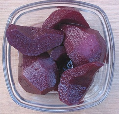 Pears simmered in red wine