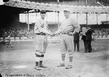 Peckinpaugh (left) with Larry Doyle (right) of the New York Giants