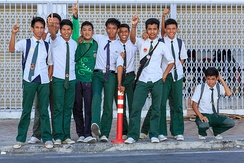 Sabahan secondary school students in their uniform.