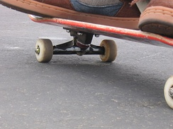 The side of a skateboard
