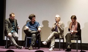 Filmmakers Stéphane Brizé (second from the right) and Rodrigo Moreno (second from the left) at a screening of The Measure of a Man in Buenos Aires in 2019.