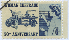 US Stamp from 1970 celebrating 50 years of woman suffrage