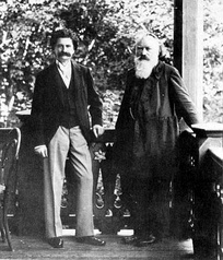 Johann Strauss II (left) and Brahms, photographed in Vienna