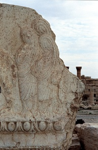 Pre-Islamic relief showing veiled Middle Eastern women, Temple of Baal, Palmyra, Syria, 1st century CE.
