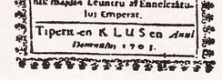 "Romanian inscription of a religious book: ""Tiperit en Klus en Anul Domnului 1703"" (Translation: ""Printed in Klus in the year of our Lord 1703"")."