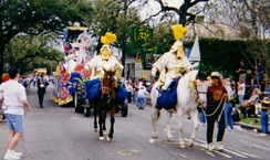 Mounted krewe officers in the Thoth Parade during Mardi Gras